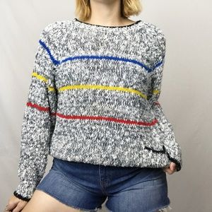 Vintage Chunky Slouchy Black White Striped Sweater